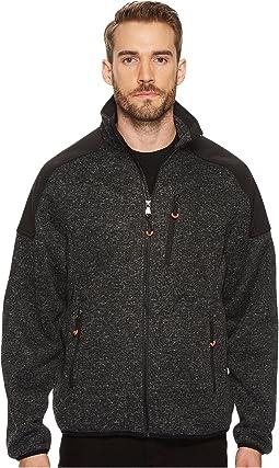 Heathered Zip Front Sweater Fleece Jacket