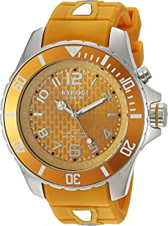 KYBOE! Power Stainless Steel Quartz Watch with Silicone Strap, Yellow, 22 (Model: SC.48-006.15