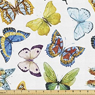 Ambesonne Butterfly Fabric by The Yard, Colorful Watercolor Animals with Numerous Different Designs and Elements, Decorati...