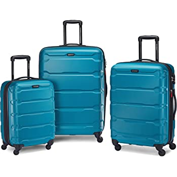 Samsonite Omni PC Hardside Expandable Luggage with Spinner Wheels, Caribbean Blue, 3-Piece Set (20/24/28)