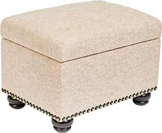 First Hill Callah Rectangular Fabric Storage Ottoman with Tufted Design - Natural Sand