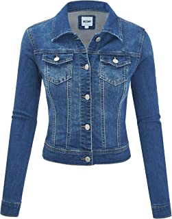 FASHION BOOMY Women's Classic Denim Jean Jacket - Cropped Long Sleeve Outerwear - Regular and Plus Sizes