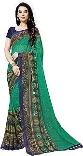 KASHVI SAREES georgette with blouse piece Saree (1496_ Green_ One Size)