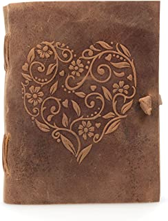 Genuine Leather Journal for Women - Beautiful Handmade Leather Bound Notebook with Embossed Heart Cover - for Daily Drawing and Sketching - Perfect 8 x 6 Inches Size for Travel or Writing on The Go