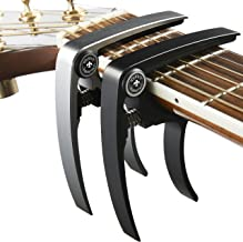 Guitar Capo (2 Pack) for Guitars, Ukulele, Banjo, Mandolin, Bass - Made of Ultra Lightweight Aluminum Metal (1.2 oz!) for 6 & 12 String Instruments - Nordic Essentials, Black+Silver