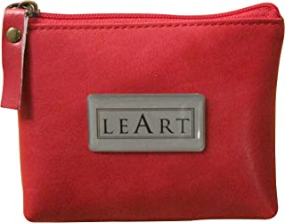 Leather Coin Pouches for Men and Women; Zippered Coin Purse for Change, Cash or Cards; Faux Leather Red Coin Wallet by LeArt