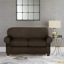 Sure Fit Designer Suede Individual Cushion Love Seat Slipcover in Chocolate