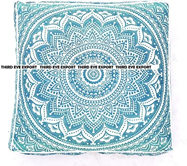 "The Art Box Ombre Mandala Square Cushion Floor Pillow Case Seating Cover Ottoman Cotton Floor Cushion Cover Indian Handmade 35"" (Cover + Insert)"