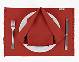 Vargottam Red Solid Home Décor Everyday Washable Frill Placemats with Napkins Dining Table Decor-Pack of 6