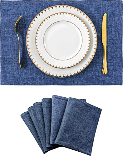 Home Brilliant Set of 6 Placemats Heat Resistant Dining Table Place Mats Kitchen Table Mats, Navy Blue
