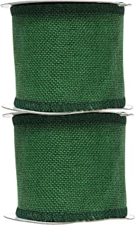 Mandala Crafts Burlap Ribbon, Jute Fabric Strip Spool for Rustic Ornament, Wreath Making, Holiday Decorating, Gift Wrapping (Green, 3 Inches)