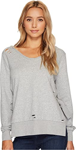 French Terry V-Neck Knit Sweatshirt