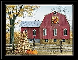 Trendy Decor4U Autumn Leaf Quilt Block Barn by Billy Jacobs Printed Wall Art, 27 Inch x 21 Inch, Black Frame