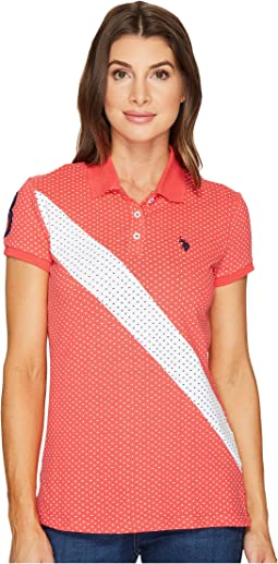 Printed Stretch Pique Polo Shirt