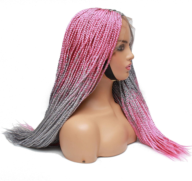 Braided wigs- Box braids wig- Grey Pink Handmade Ranking TOP13 hair- bra Sales for sale
