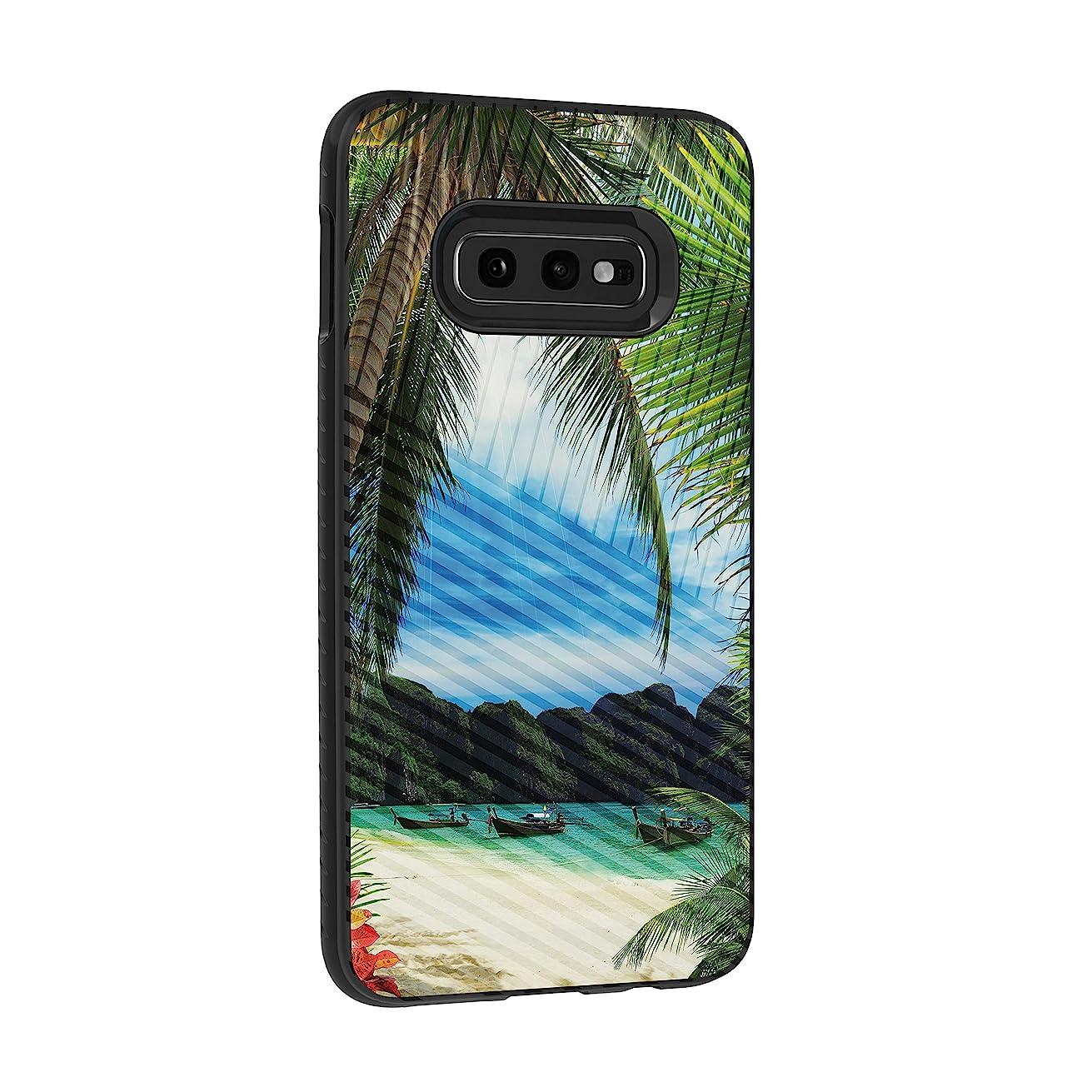 TurtleArmor   Compatible for Samsung Galaxy S10e Case   S10 Lite Case   G970   Hard Shell Impact TPU Case Hybrid Engraved Grooves Ocean Beach Design - Tropical Beach