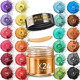 Cosmetic Grade Mica Powder Jars - 24x0.2 Oz Color Set Assortment - Natural Coloring Pigment for Epoxy Resin, Soap Making, ...
