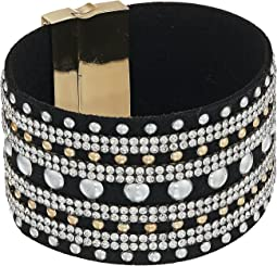 Wide Faux Leather Studded Cuff with Rhinestone Accents Bracelet