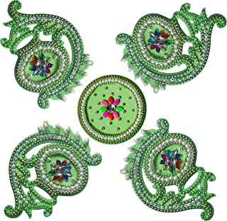 RUCI STORE Diwali Acrylic Rangoli Floor Decorations Acrylic Mataka Design with Studded Stones and Sequins, Traditional Festive Home Décor Big Size (Green)