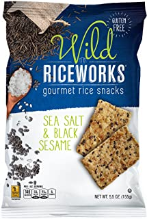 Riceworks Gourmet Rice Crackers | Gluten Free Organic Snacks with Brown Rice | Sea Salt and Black Sesame Chips | 6 Bag Pack, 5.5oz Each