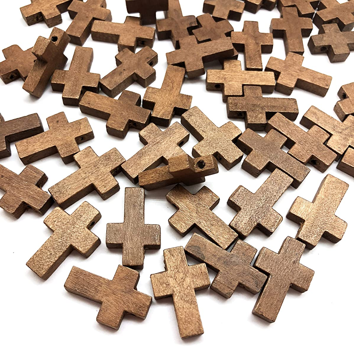 PEPPERLONELY 50PC Wooden Cross Spacer Beads 15x22mm(9/16 x 7/8 Inch)