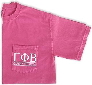 Go Greek Chic Gamma Phi Beta Block Letters Pocket Tee Sorority Comfort Colors T-Shirt
