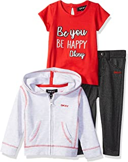 Baby Girls 3 Piece Be You Be Happy T-Shirt, Hoodie, and Pant Set