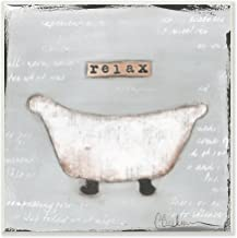 Stupell Home Décor Relax Bathtub Pastels Bath Wall Plaque Art, 12 x 0.5 x 12, Proudly Made in USA