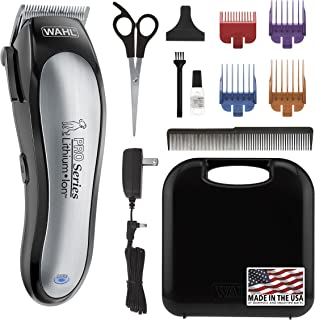 WAHL Lithium Ion Pro Series Cordless Animal Clippers – Rechargeable Quiet Low Noise Heavy-Duty Electric Dog & Cat Grooming Kit for Small & Large Breeds with Thick & Heavy Coats – Model 9766