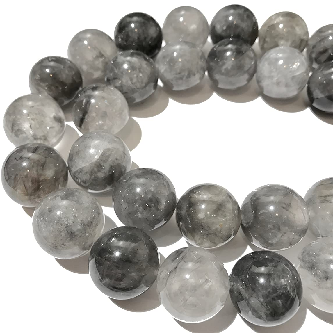 [ABCgems] Rare African Cloudy Quartz (Translucent- Beautiful Inclusions) 16mm Smooth Round Beads for Beading & Jewelry Making