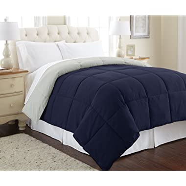 Amrapur Overseas Down Alternative Microfiber Quilted Reversible Comforter/Duvet Insert Ultra Soft Hypoallergenic Bedding-Medium Warmth for All Seasons, Full/Queen, Eclipse/Silver