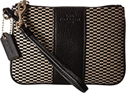 COACH Exploded Rep Small Wristlet,Milk/Black