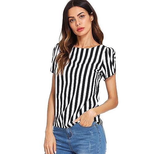 1c1b53139b1 Floerns Women s Vertical Striped Round Neck Petal Short Sleeve Blouse Tops