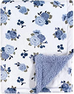 Luvable Friends Unisex Baby Plush Blanket with Sherpa Back, Blue Floral, One Size