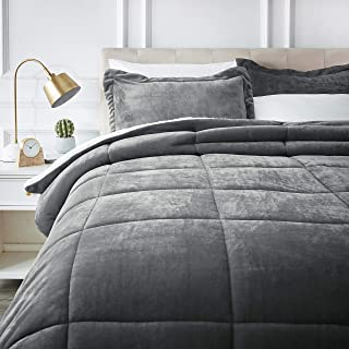AmazonBasics Ultra-Soft Micromink Sherpa Comforter Bed Set - King, Charcoal