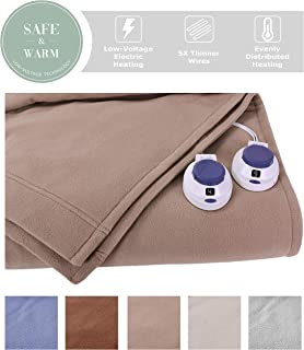 SoftHeat by Perfect Fit | Luxury Fleece Electric Heated Blanket with Safe & Warm Low-Voltage Technology (King, Beige)