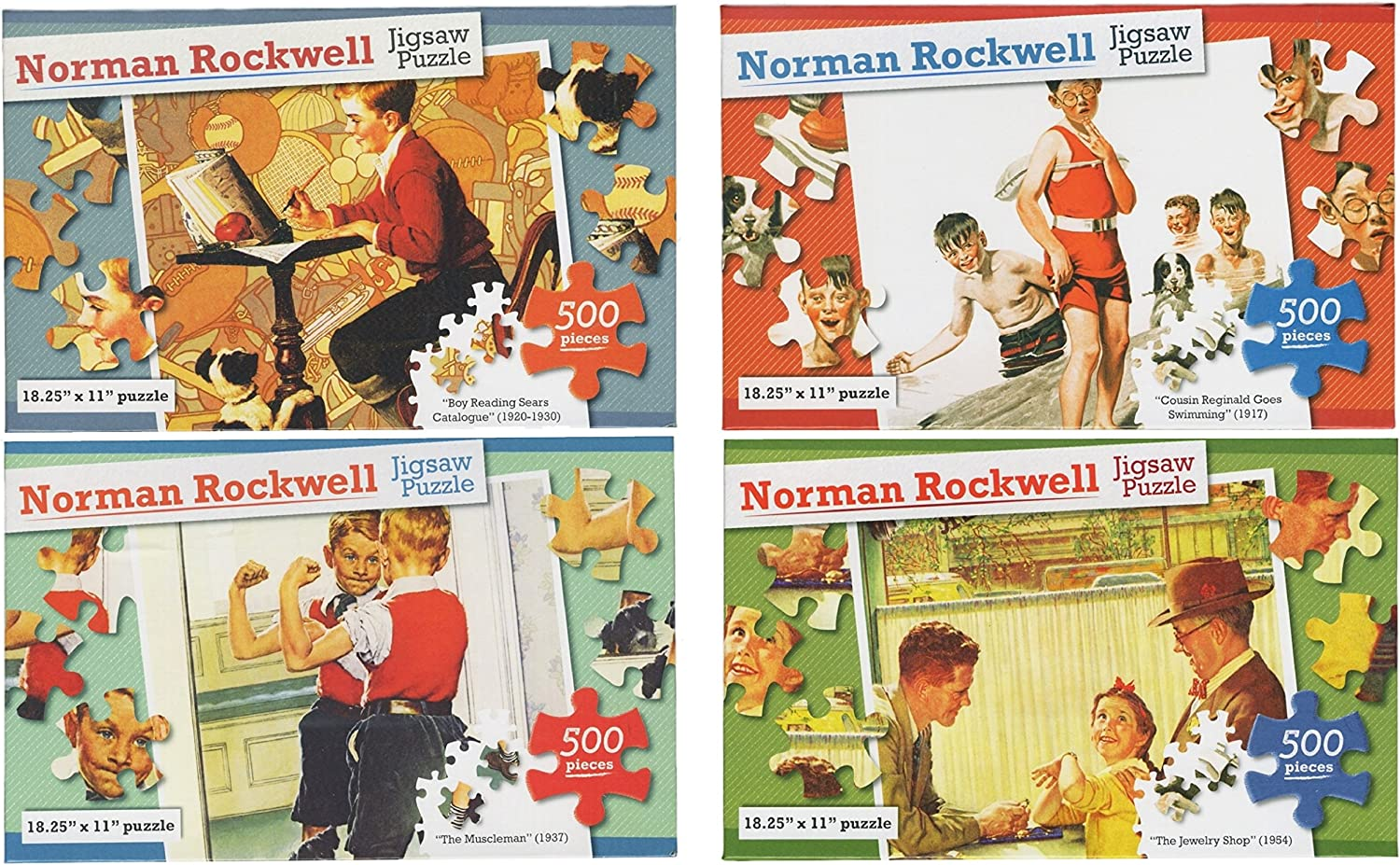 Set of 4 Different Norman Rockwell Jigsaw Puzzles  500 Pieces in Each