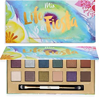 'Life Is A Fiesta' Eyeshadow Palette + Dual Ended Brush - 12 Bold and Versatile Tones: Shimmery & Matte Hues. Vegan And Clean Skin Care.