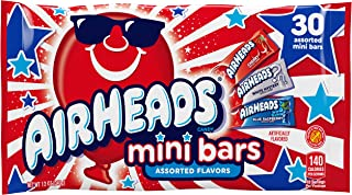 Airheads Minis Assorted Flavors Bag, Red White and Blue, Summer Special Edition, Cherry, White Mystery, and Blue Raspberry, 12 Count (360 Mini Bars Total)