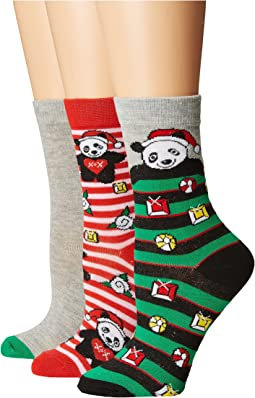 Betsey Johnson - 3-Pack Christmas Crew Socks