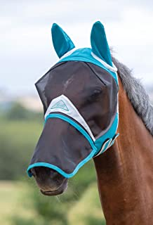 Shires Fine Mesh Horse Equine Fly Mask with Ears and Detachable Nose 60% UV Protection