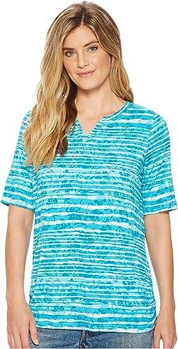 Shadow Stripe Semi Short Sleeve Top