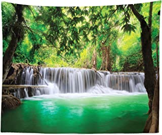 Lunarable Waterfall Tapestry King Size, Waterfall in Tropical Forest Trees Thailand Kanjanaburi Sunny Day Image, Wall Hanging Bedspread Bed Cover Wall Decor, 104
