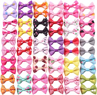 YAKA 60PCS (30 Paris) Cute Puppy Dog Small Bowknot Hair Bows with Rubber Bands (or Clips) Handmade Hair Accessories Bow Pet Grooming Products (60 Pcs,Cute Patterns)