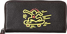 Accordion Wallet in Leather Featuring Keith Haring