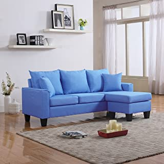 DIVANO ROMA FURNITURE Modern Linen Fabric Small Space Sectional Sofa with Reversible Chaise (Sky Blue)