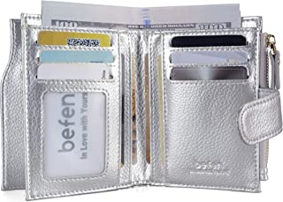 Befen Women's RFID Blocking Luxury Full Grain Genuine Leather Bifold Trifold Wallet Multi Card Organizer Holders for Ladies