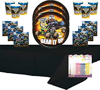 Monster Truck Party Supplies Pack Serves 16: Dinner Plates Luncheon Napkins Cups and Table Cover with Birthday Candles (Bundle for 16)