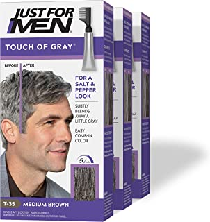 Just For Men Touch Of Gray,  Gray Hair Coloring for Men with Comb Applicator, Great for a Salt and Pepper Look - Medium Brown, T-35 - Pack of 3 (Packaging May Vary)