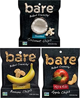 bare Baked Crunchy Fruit Snack Pack, Gluten Free, Apples, Bananas, and Coconut Flavors, 0.53oz (16 Count)